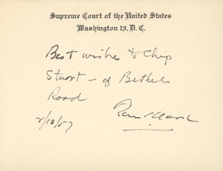 Autographs: ASSOCIATE JUSTICE TOM C. CLARK - AUTOGRAPH NOTE ON SUPREME COURT CARD SIGNED 02/18/1957