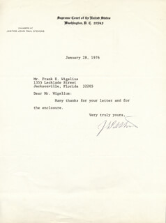 ASSOCIATE JUSTICE JOHN PAUL STEVENS - TYPED LETTER SIGNED 01/28/1976
