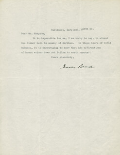 Autographs: CHARLES A. BEARD - TYPED LETTER SIGNED 3/22