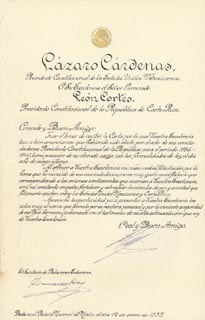 PRESIDENT LAZARO CARDENAS (MEXICO) - MANUSCRIPT DOCUMENT SIGNED 01/12/1937 CO-SIGNED BY: GENERAL EDUARDO HAY