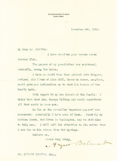 AUGUST BELMONT II - TYPED LETTER SIGNED 11/06/1916