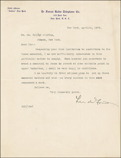 LEE DE FOREST - TYPED LETTER SIGNED 04/14/1909