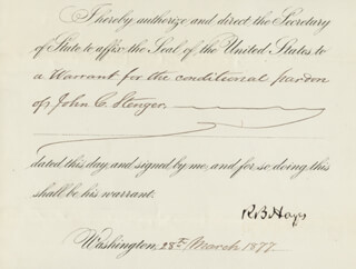 PRESIDENT RUTHERFORD B. HAYES - PRESIDENTIAL WARRANT SIGNED 03/28/1877