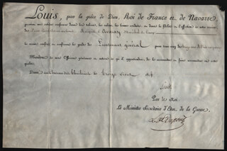 Autographs: KING LOUIS XVIII (FRANCE) - MILITARY APPOINTMENT SIGNED 08/30/1814 CO-SIGNED BY: PIERRE DUPONT DE L'ESTANG