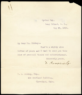 PRESIDENT THEODORE ROOSEVELT - TYPED LETTER SIGNED 05/20/1916