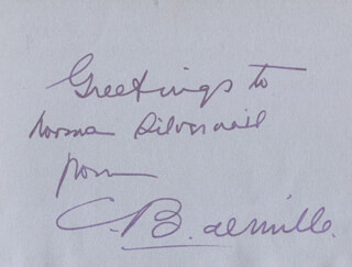 CECIL B. DEMILLE - AUTOGRAPH NOTE SIGNED