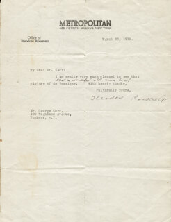 Autographs: PRESIDENT THEODORE ROOSEVELT - TYPED LETTER SIGNED 03/23/1918