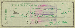 TY COBB - AUTOGRAPHED SIGNED CHECK 11/19/1955 - HFSID 47211