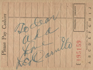 LEO PANCHO CARRILLO - AUTOGRAPH NOTE SIGNED