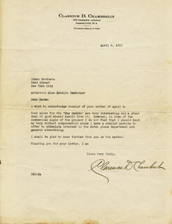 CLARENCE D. CHAMBERLIN - TYPED LETTER SIGNED 04/06/1931
