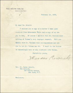 PRESIDENT THEODORE ROOSEVELT - TYPED LETTER SIGNED 02/19/1909