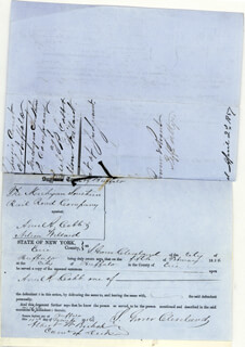 Autographs: PRESIDENT GROVER CLEVELAND - MANUSCRIPT DOCUMENT DOUBLE SIGNED 03/11/1856 CO-SIGNED BY: ALBERT W. BISHOP