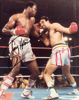 LARRY HOLMES - AUTOGRAPHED SIGNED PHOTOGRAPH CO-SIGNED BY: GERRY COONEY