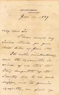 PRESIDENT GROVER CLEVELAND - AUTOGRAPH LETTER SIGNED 01/11/1887