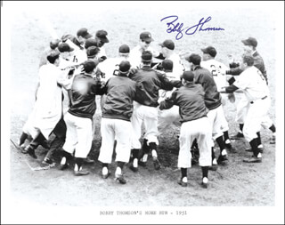 BOBBY THOMSON - PRINTED PHOTOGRAPH SIGNED IN INK