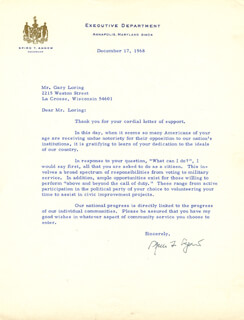 Autographs: VICE PRESIDENT SPIRO T. AGNEW - TYPED LETTER SIGNED 12/17/1968