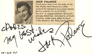 JACK PALANCE - AUTOGRAPH NOTE SIGNED CIRCA 1975