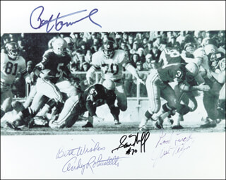 PAUL V. HORNUNG - AUTOGRAPHED SIGNED PHOTOGRAPH CO-SIGNED BY: JIM TAYLOR, SAM HUFF, ANDY ROBUSTELLI