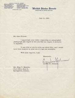 PRESIDENT LYNDON B. JOHNSON - TYPED LETTER SIGNED 07/18/1949