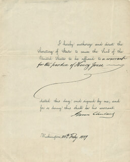 Autographs: PRESIDENT GROVER CLEVELAND - PRESIDENTIAL WARRANT SIGNED 02/28/1889