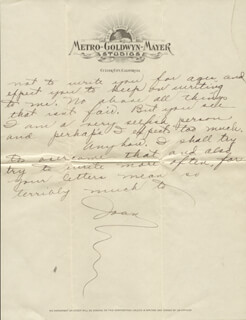 JOAN CRAWFORD - AUTOGRAPH LETTER SIGNED CIRCA 1928