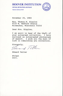 EDWARD TELLER - TYPED LETTER SIGNED 11/25/1980