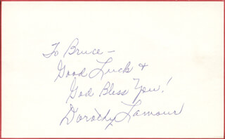 DOROTHY LAMOUR - AUTOGRAPH NOTE SIGNED