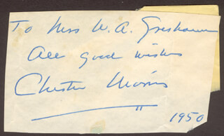 CHESTER MORRIS - AUTOGRAPH NOTE SIGNED 1950