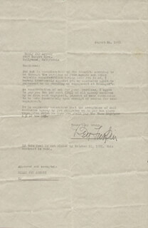 BEN TURPIN - DOCUMENT SIGNED 08/24/1931