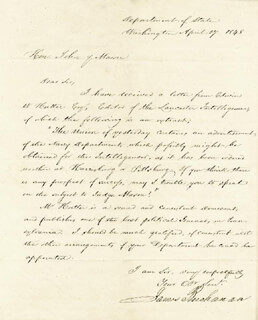 PRESIDENT JAMES BUCHANAN - MANUSCRIPT LETTER SIGNED 04/27/1848