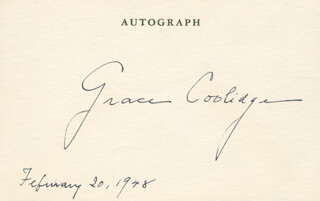FIRST LADY GRACE COOLIDGE - AUTOGRAPH 02/20/1948