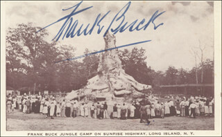 Autographs: FRANK BRING 'EM BACK ALIVE BUCK - PICTURE POST CARD SIGNED