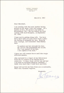 GENE TUNNEY - TYPED LETTER SIGNED 03/08/1963