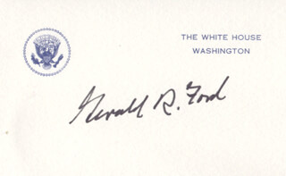 Autographs: PRESIDENT GERALD R. FORD - WHITE HOUSE CARD SIGNED