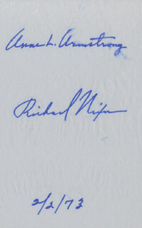 PRESIDENT RICHARD M. NIXON - AUTOGRAPH 02/02/1973 CO-SIGNED BY: ANNE ARMSTRONG