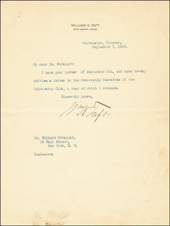 PRESIDENT WILLIAM H. TAFT - TYPED LETTER SIGNED 09/07/1913