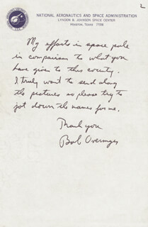 Autographs: COLONEL ROBERT OVERMYER - AUTOGRAPH LETTER SIGNED 12/21/1982