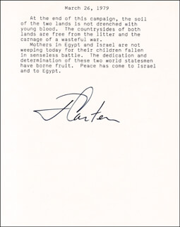 PRESIDENT JAMES E. JIMMY CARTER - TYPED QUOTATION SIGNED CIRCA 1979