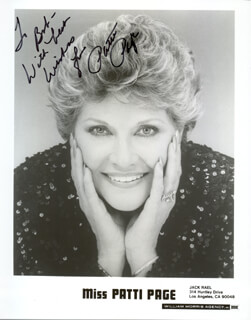 PATTI PAGE - AUTOGRAPHED INSCRIBED PHOTOGRAPH  - HFSID 47792