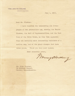 PRESIDENT WARREN G. HARDING - TYPED LETTER SIGNED 06/04/1923