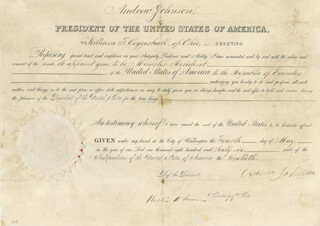 PRESIDENT ANDREW JOHNSON - DIPLOMATIC APPOINTMENT SIGNED 05/04/1866 CO-SIGNED BY: WILLIAM H. SEWARD