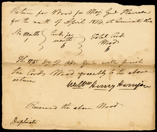 PRESIDENT WILLIAM HENRY HARRISON - MANUSCRIPT DOCUMENT SIGNED 4/1814