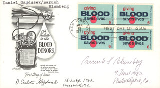 Autographs: DANIEL CARLETON GAJDUSEK - FIRST DAY COVER SIGNED 1982 CO-SIGNED BY: BARUCH S. BLUMBERG
