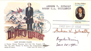 ANDREW V. SCHALLY - FIRST DAY COVER SIGNED 06/25/1982 CO-SIGNED BY: ROGER GUILLEMIN