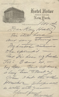 WILLIAM S. HART - AUTOGRAPH LETTER SIGNED 11/01/1934