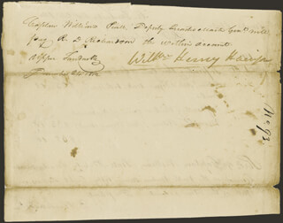 PRESIDENT WILLIAM HENRY HARRISON - MANUSCRIPT ENDORSMENT SIGNED 12/24/1812 CO-SIGNED BY: R. D. RICHARDSON
