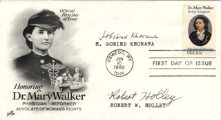Autographs: HAR GOBIND KHORANA - FIRST DAY COVER SIGNED CO-SIGNED BY: ROBERT W. HOLLEY