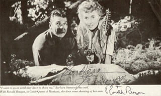 CATTLE QUEEN OF MONTANA MOVIE CAST - BOOK PHOTOGRAPH SIGNED CO-SIGNED BY: PRESIDENT RONALD REAGAN, BARBARA STANWYCK