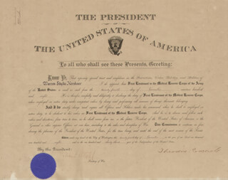 PRESIDENT THEODORE ROOSEVELT - MILITARY APPOINTMENT SIGNED 11/24/1908 CO-SIGNED BY: LUKE E. WRIGHT