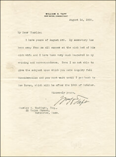 PRESIDENT WILLIAM H. TAFT - TYPED LETTER SIGNED 08/16/1920